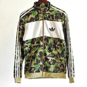 ONETOW Adidas Originals Camouflage Zipper Cardigan Sweatshirt Jacket Coat Windbreaker Sportswear