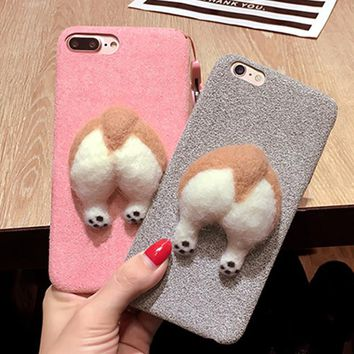 corgi case handmake Needle Wool felt cute cat dog butt ass cover for apple iphone 6 6s plus iPhone 7 7P soft mobile phone Case