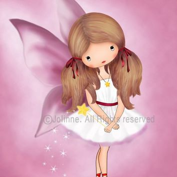 Pink fairy angel girl art print reproduction archival print nursery room decor pink girls wall art baby room artwork