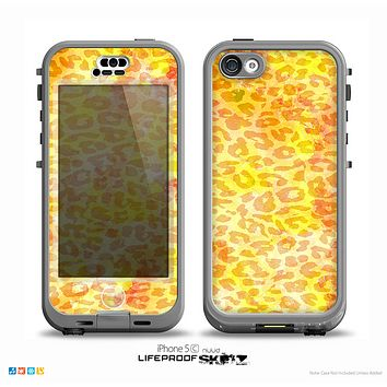 The Bright Yellow and Orange Leopard Print Skin for the iPhone 5c nüüd LifeProof Case