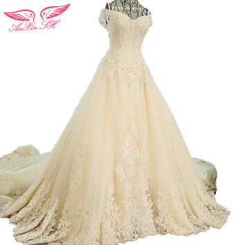 AnXin SH flash sexy bandage wedding dress Korean version of the bride trailing wedding dress 100% Real Picture 1032 ZL4667