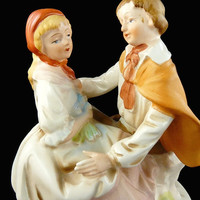 On Sale Vintage, Hand Painted, Porcelain, Rotating, Courting Couple, Musical Figurine, Love Story Melody, Music Box