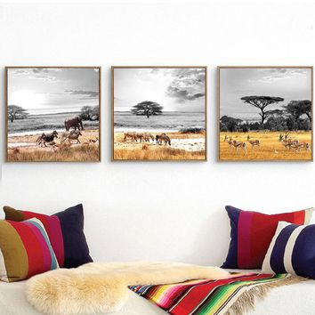 BANMU Canvas Paintings Wall Art Pictures 3Pcs Modern Giclee Prints Artwork Africa Animals Zebra Elephant home Decor no frame