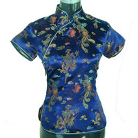 Special Offer Navy Blue Summer Womens Blouse Satin Shirt Top Mujeres Camisa Chinese Traditional Clothing Size S M L XL XXL A0018