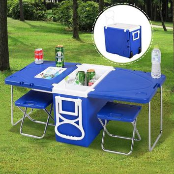 Multi Function Rolling Cooler Picnic Camping w/ Table & 2 Chairs Blue