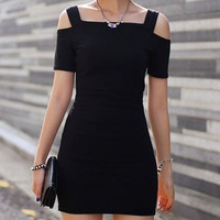 Black Cut Out Off-The-Shoulder Bodycon Dress