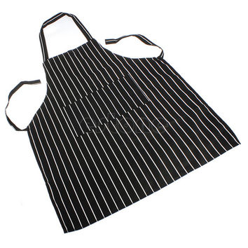 Men Adjustable Adult Black Stripe Bib Apron with 2 Pockets Chef Waiter Kitchen Cook