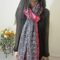 Women Chiffon Scarf, Black And Pink Long Fabric