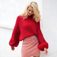 Winter Lantern Sleeve Knitted Sweater Pullover Loose Round Neck Red Casual Jumper