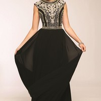 Jovani 24413 Bead Embellished Long Black Prom Dress