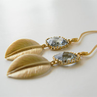 Gold Leaf Dangle Earrings with Smokey Charcoal Faceted Glass Pendant