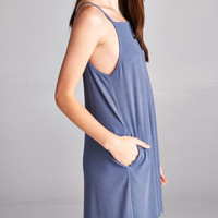 Slate Blue Ribbed High Neck Pocket Dress