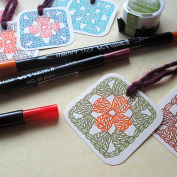 Granny Square - Hand Carved Rubber Stamp