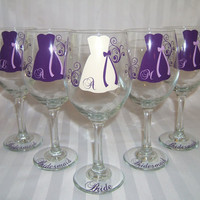 9 Personalized Bride and Bridesmaids Wine by SimplySouthernCharms