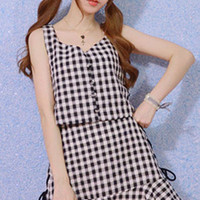 Black and white gingham two piece outfit