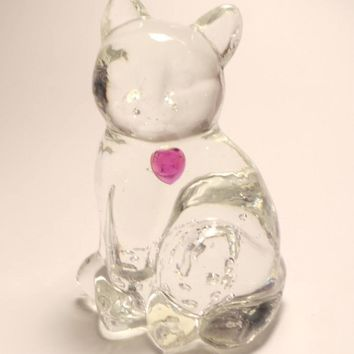 Vintage Lefton Figurine | Cat Figurine | Clear Glass Cat With Pink Crystal Heart