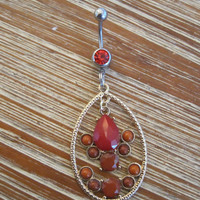 Belly Button Ring - Body Jewelry - Gold Teardrop Shape Charm With Red Beads with Red Gem Belly Button Ring