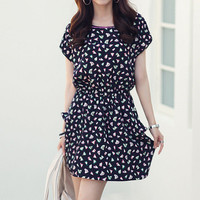 Cute Floral Print Cap Sleeves Faux Silk Sundress