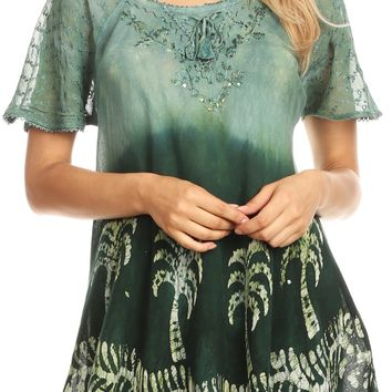 Sakkas Magda Womens Short Sleeve Flare Bohemian Blouse Top Lace Batik Printed