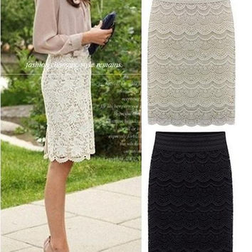 Women Lace Bodycon High Waist Beige Knee Length brief Skirts Office ladies work wear bottoms Grunge Skort 2015 Spring and Summer = 1946954692