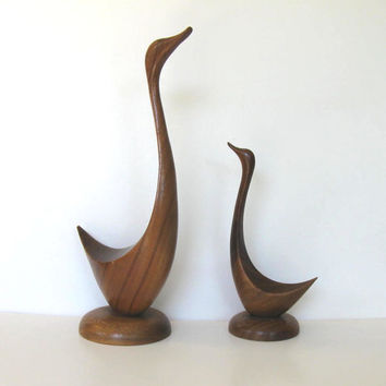 Pair of Handcarved Teak Bird Sculptures, Vintage Collectible, Geese, Mid Century Modern, Home Decor