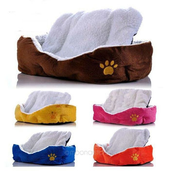 Small Large Pet Dog Puppy Cat Fleece Cozy Warm Nest Bed House Cotton Mat Pad = 1930546372