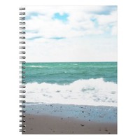 Teal Ocean, Sandy Beach Spiral Notebook