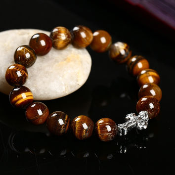 Natural Stone Agate Tiger's eye,Blue Sandstone,Lava-rock Cross Bracelets & Bangle Women Bracelets 10 MM Beads Bracelets for Men