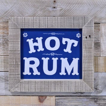Vintage Hot Rum Sign, Antique Bar Decor, General Store Sign, Rustic Kitchen Art