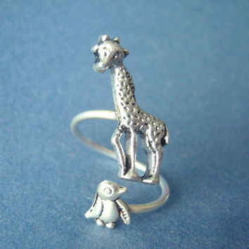 silver penguin giraffe ring wrap style, adjustable ring