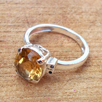 Designer Citrine Ring, Prong Setting Ring,Gemstone Ring Jewelry, 925 Silver Ring, Sterling Silver Ring,Top Selling Ring