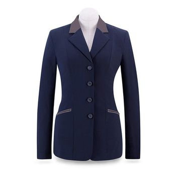 RJ Classics Ladies Victory Soft Shell Show Coat - Navy with Mauve Trim