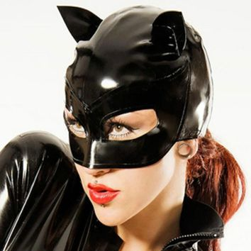 Fashion Party Cosplay Black Latex Cat Mask Leather Party Hood Cosplay Face Mask