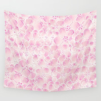 Pink Abstract Flowers Wall Tapestry by Lena Photo Art