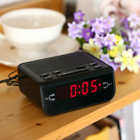 Black Compact Digital Alarm LED Time Clock Display with Dual Alarm Buzzer
