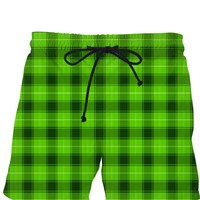 Green and black retro men swim shorts, buffalo plaid short pants, scottish tartan