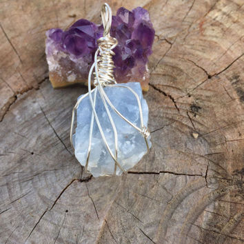 Crystal Pendant: Blue Calcite Crystal Wrapped with Silver Wire, Crystal Jewelry, Crystal Necklace, Wire Wrap, Pendant