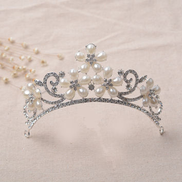 Luxury Water Droplets Pearls Korean Headwear Alloy Crown Jewelry [6573087815]