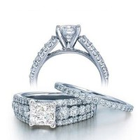 2.32 Carat Princess Diamond Engagement Ring Bridal Set Engagement Rings on 14k White Gold