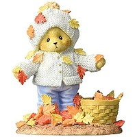 Enesco Cherished Teddies Collection Bear Playing with Leaves Figurine, 4.125""