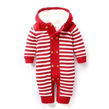 Baby Romper Thick Fleece Warm Cardigan for Winter Kids Knitted Sweater Infant's Climbing Clothes Hooded Girl Boys Outwear CL0434