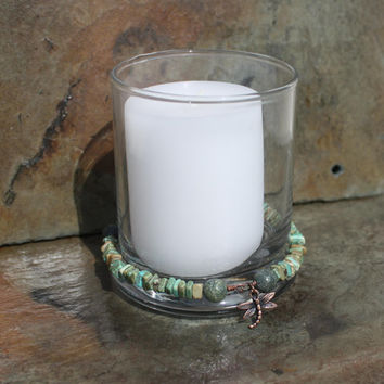 Serpentine, Magnesite, and Copper Meditation Candle Set with Intention Slates
