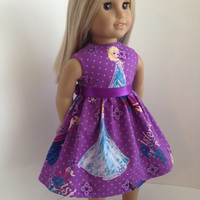 Frozen Inspired Doll Dress and Sash for the American Girl Doll, featuring Elsa