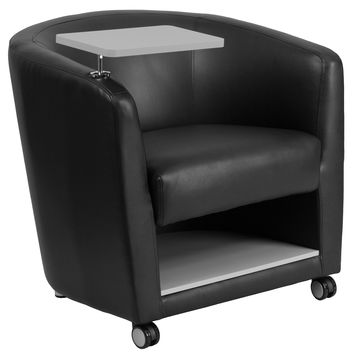 Flash Furniture Black Leather Guest Chair with Tablet Arm, Front Wheel Casters and Under Seat Storage [BT-8220-BK-CS-GG]