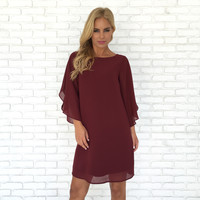 Angel Of Mine Shift Dress In Wine