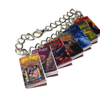 Harry Potter Bracelet, Miniature Book Bracelet, Harry Potter Jewelry, Deathly Hallows, Goblet of Fire, Charm Bracelet, JK Rowling