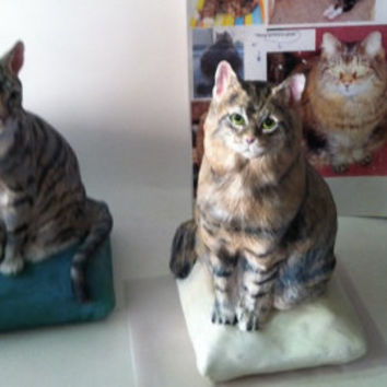 YOUR Tiger Tabby CAT Sculpted Porcelain Custom sculpture (URN option) Cat grey orange Calico Black and white Siamese Any Breed Pet statues