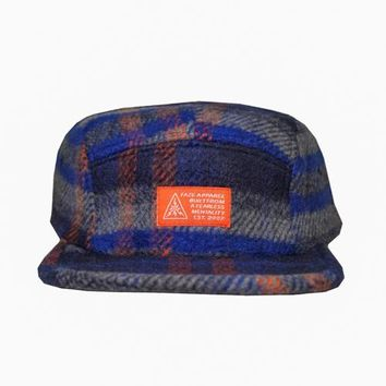 Blue Collar 5-Panel Strapback Hat in navy, royal, grey, and rust