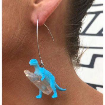Dinosaur-Gemstone earrings