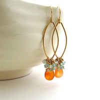 Carnelian chandelier earrings, aqua and orange jewelry, apatite and aquamarine cluster earrings, carnelian jewelry, orange and blue earrings